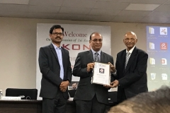 Receiving IKON ( International Knowledge and Opportunities Network) Dronacharya of the year award from Dr.M. Gopalakrishna on 9/6/ 2018.